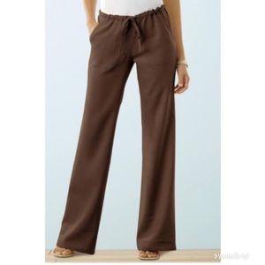Brown Linen Pant CHADWICKS Wide Leg Drawstring